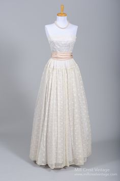 1950 Organdy Vintage Wedding Gown : Mill Crest Vintage