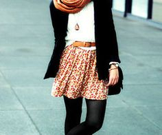 skirts and tights with scarves