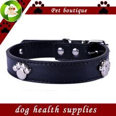 Accesorios de moda los Collares de Perro Paw Personalizada Collar de Cuero Pu Negro Rojo Verde Amarillo Colores Plomo Collar de Productos Para Mascotas
