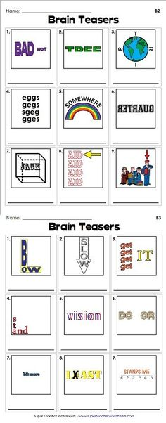 Brain teasers are a great way to get your students to use their critical thinking skills. Check out our clever rebus puzzles - we're sure your students are going to like them! by Lacy Berthelot Rebus Puzzles, Word Puzzles, Logic Puzzles, Mind Games Puzzles, Kids Puzzles, Classroom Fun, Classroom Activities, Elderly Activities, Dementia Activities