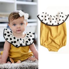 Infant Summer Baby Romper Sleeveless Round Collar Lotus Baby Girls Kids Floral Dots Baby Romper Jumpsuit Outfits Clothes -in Rompers from Mother & Kids on Aliexpress.com | Alibaba Group