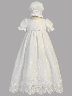 a3a19c45d151 Gracious Christening Gown in Pleated Organdy with Matching Bonnet ...