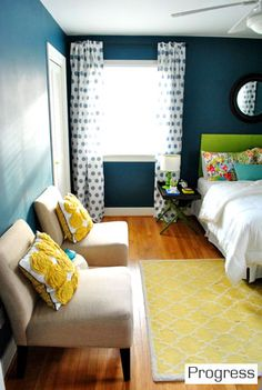 I love this color combo - the deep teal, bright, sunny yellows, bright lime greens, and pops of turquoise. Love! color: Plumage by Martha Stewart