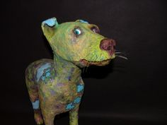 'Hoover' Paper Mache Dog Sculpture by Marci Forbes