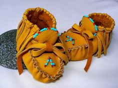 Fringed Moccasins 49 Months Leather Baby by TribalVibesLeather, $68.00