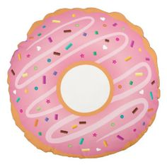 Pink Frosted and Chocolate Doughnut with Sprinkles Round Pillow