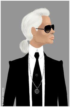 Karl Lagerfeld. #Chanel, anyone? #Art   Illustrator: Adrian Valencia | Draw Adrian, Draw!