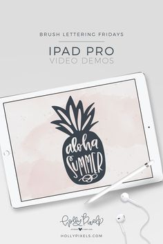 Watch my Procreate brush lettering demo every Friday - Brush Lettering Fridays. This week's quote is: Aloha Summer. Real Time Video! Holly Pixels.