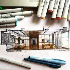 Architectural Drawing Design Interior living room cut perspective by Take a look at for more drawings! Interior Architecture Drawing, Interior Design Renderings, Architecture Concept Drawings, Architecture Sketchbook, Interior Sketch, Architecture Plan, Drawing Interior, Interior Design Presentation, Appartement Design
