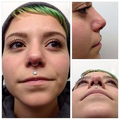 Downsized Alex's philtrum piercing one last time and installed a seam ring in her septum piercing, both done by me. We also swapped out jewelry in her existing nostril piercings to some prong set white opals! Jewelry from NeoMetal and Anatometal