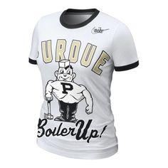 College Nike Purdue Boilermakers Women's Vault White Ringer T-Shirt