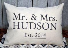 Anniversary gift, wedding gift, Cotton anniversary, Mr. & Mrs. pillow, engagement present, wedding, Last name pillow, newlywed gift -Hudson3