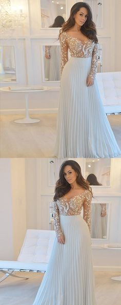 Prom Dresses Elegant, A-Line Scoop Long Sleeves Grey Chiffon Prom Dress with Beading Pleats, Mermaid prom dresses, two piece prom gowns, sequin prom dresses & you name it - our 2020 prom collection has everything you need! Long Prom Gowns, Formal Evening Dresses, Prom Dresses, Wedding Dresses, Bridesmaid Dress, Godmother Dress, Fairy Godmother, Make Your Own Dress, Popular Dresses