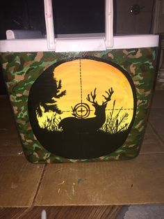 Hand painted hunting design on cooler