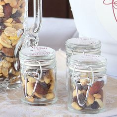 Mini Glass Jars with a Wire Snap - Fill them with candies, nuts, cocoa, honey, marshmallows or even home-made preserves and finish them with a personalized sticker or tag.