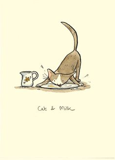 M145 CAT & MILK  a Two Bad Mice card by Anita Jeram