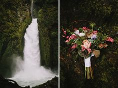 Wahclella Falls Elopement. Wahclella Falls outside of Portland is probably one of the most awe inducing sites we've seen in the past few years. Here is their day.