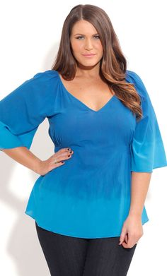 City Chic OMBRE BLUES TOP-Women's Plus Size Fashion
