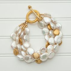 4 Strand Coin Pearl and Gold Bracelet