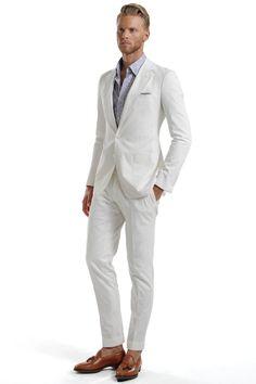 White suit, mens casual suits, white suits, mens suits, men fashion p Men Fashion Photo, Gents Fashion, Mens Boots Fashion, Mens Fashion Suits, Mens Casual Suits, Mens Suits, Seersucker, Cool Suits, Wedding Suits