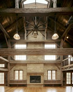 Ceiling skylight these walls look like they're not rather has a high peak rise Brown Road Dutch Barn Barn Living, Living Room, Country Living, Converted Barn, Barn Renovation, Pole Barn Homes, Barndominium, Old Barns, Home And Deco