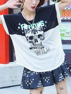 Cat-Ear Skull Pattern Wide Dolman Cutsew / See more at http://www.cdjapan.co.jp/apparel/new_arrival.html?brand=LIS #harajuku #fashion