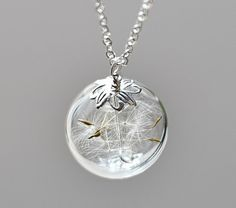 Dandelion Necklace Silver Make A Wish Glass Bead Orb Dandelion Seed Transparent Round Beadwork Flower Botanical via Etsy