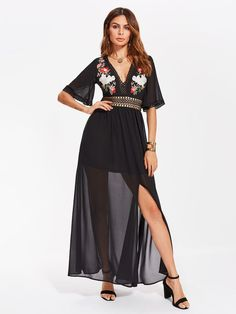 b8b0584407 Shein Eyelet Lace Panel Flower Embroidered Plunge Dress