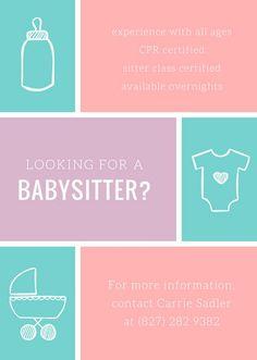 babysitter information printables fonts templates pinterest