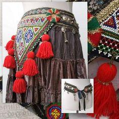 Tribal Belly Dance Belt, ATS Costume Belt with red tassels - Boho, Festival Belt - Size cm) Belly Dance Bra, Dance Belt, Belly Dance Costumes, Country Girl Belts, Navratri Dress, Tribal Costume, Tribal Belly Dance, Tribal Fusion, Hippie Outfits