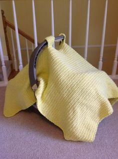 Crocheted Baby Car Seat Cover/Tent  Such a cute idea!