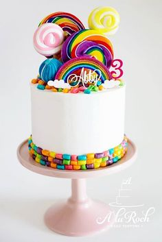 Rainbow Lollipop cake rainbow and name topper from…