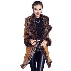 Saprex Double Breasted Women Windbreak Sheepskin Trench Fur Coats