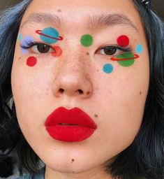 welcome 2 my little universe 🌎 solar system make up 💕Festival Face Eye Makeup Art, Cute Makeup, Pretty Makeup, Makeup Inspo, Makeup Inspiration, Makeup Lips, Makeup Ideas, Red Makeup, Fantasy Inspiration