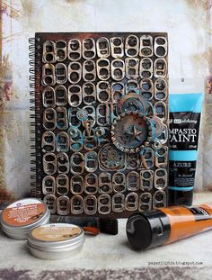Mixed-media art, art journaling and scrapbooking by polish artist and teacher Anna Dabrowska aka Finnabair. Mixed Media Artwork, Mixed Media Canvas, Altered Books, Altered Art, Scrapbooking Mini Album, Mini Albums, Bookbinding Tutorial, Multimedia Arts, Art Therapy Projects