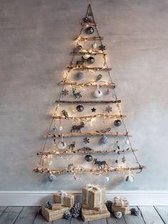 A frosted branch hanging Christmas tree- a beautiful alternative to the traditional version!