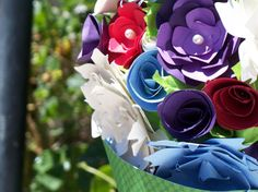 This will be a unique, made-to-order, bouquet perfectly suited to fit your needs. Paper flowers allow for any color combinations, sizes, even patterns. Your bouquet will be a one of a kind work of art that will be an everlasting memory of your special event.    Perfect for bridal parties, birthdays, gifts for moms, wives, and girlfriends!  $100