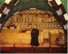 Artesanato e comércio no Cinquecento (abreviação de 1500 em italiano) (farmácia)  Este ciclo de afrescos que testemunha a vida econômica florescente que teve lugar no século XVI, na Itália, está localizado no Castelo de Issogne no Vale de Aosta. O castelo foi construído no final do século XV por Giorgio Challants. Os críticos acreditam que estes afrescos, assim como o castelo, são obra de artistas de Lyon e foram pintados no primeiro quartel do século XVI