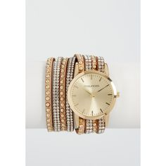 maurices Studded Wrap Watch In Tan, Women's, ($24) ❤ liked on Polyvore featuring jewelry, watches, studded watches, wrap watch, plastic jewelry, studded wrap watch and plastic watches