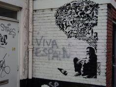 Piece van ESFP gemaakt met stenciltechniek. Zie http://www.streetlove.fr/interview/esfp-itw.html (locatie Butjesstraat).