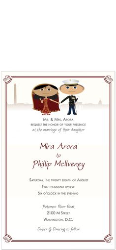 Indian Wedding Invitations - 2 Characters. $87.00, via Etsy.