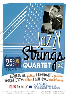 """A3 Poster for a gypsy jazz concert. The """"4"""" represents the four string instruments (2 guitars, 1 violin and 1 double bass) with their number of strings. (Antoine Walraevens - 2015)"""