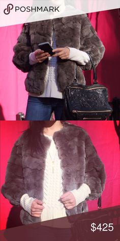 Yves Salomon Fur Jacket 100% Rex Rabbit, silk lined. Cropped sleeves. Hook closure. Size 34 equivalent to XS. Yves Salomon Jackets & Coats
