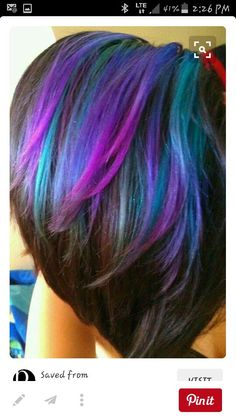 Blue purple and green over dark hair