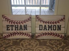 Baseball signs I made for the nephews\' bedrooms. Pallet sign