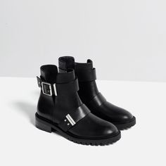Image 2 of LEATHER BIKER BOOTS WITH BUCKLES from Zara