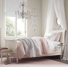 Shabby chic bedroom with white and pink sheets