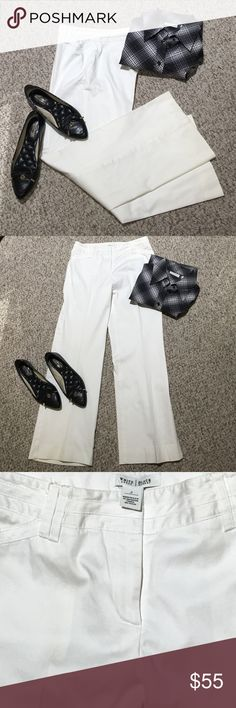 "White House Black Market white slacks I'm selling a stunning pair of White house black market slacks... whether you're going for a job interview, promotion, or out to make a statement...these will seal the deal.. pair with the shirt classic clean professional style....rise 9"" inseam 28 1/2"" White House Black Market Pants Trousers"
