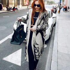 Winter Rabbit Hair Blend Knitted Cardigans Girl Printed Elegant Jumper Sweater Thicken Long Knitwear Coat