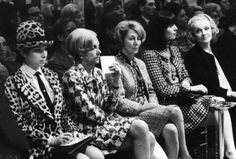 Barbra Streisand and others, Lisa Martinelli, and Marlene Dietrich at the far right attending a Chanel fashion show in 1966. Photograph by Bill Eppridge.
